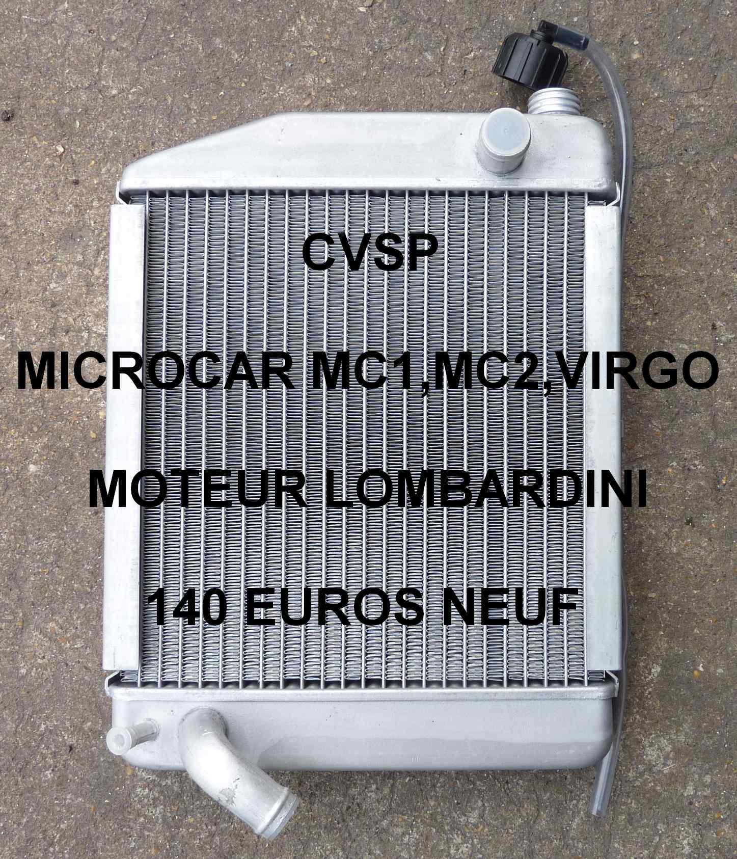 radiateur moteur lombardini neuf microcar mc2 pi ce d tach e voiture sans permis neuf et occasion. Black Bedroom Furniture Sets. Home Design Ideas